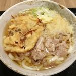 83003703 - 「肉うどん(500円)+ごぼう天(100円)+柔麺うどん並盛(50円)」です