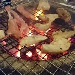 七輪亭 - ミノが焼けてきたー(^^)