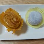 お菓子の日高 - 料理写真:スイートポテト150円、ラムレーズンバター大福150円