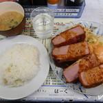 レストランばーく - ハムカツ4切れ定食¥800-