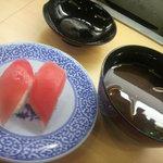 無添くら寿司 - 寿司①とあさり汁 (2011.06.18)