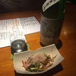 宗 - ゲソと九条ネギの酒盗バター炒め(ハーフ)+招徳(日本酒)