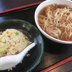 龍華 - 料理写真:龍華(半炒飯+叉焼入りネギラーメン)