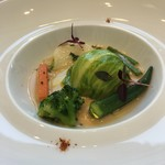 ラ・フェット ひらまつ - ホタテのムースの真鯛包、レタスロール、ジュのソース