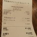 肉菜ダイニング 五色 - レシート(2018.03.25)