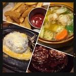 ガッツ・グリル - チーズハンバーグ・ポテト・アヒージョー・和牛ハンバーグ
