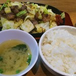 Oosakayakinikuhorumonfutago - とめて欲しい焼肉定食(とめ定) 850円
