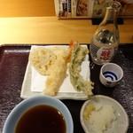 天丼てんや - 天ぷら&生ビールセット630円 生ビール(中)は日本酒(1本)に変更