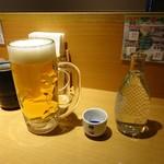 天丼てんや - 日本酒(常温)、350円 生ビール(中)430円