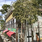CHICHICAFE - 土手沿いのお店の前の通りに桜はほとんどありません