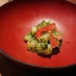 ぬる燗佐藤 大坂 - お通し。美味しいけど、この量で500円!