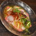 俺のフレンチ・イタリアン OMORI - 鮮魚のカルパッチョ盛り合わせ(680円+税)2018年3月