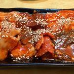 赤坂大関 - 上一匹コース 4,110円 三皿目 味噌ダレ(センマイ、ホルモン、レバー、コプチャン、ヤン、ハチノス、コブクロ)