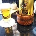 割烹 天ぷら 三太郎 - 瓶ビールはエビスを選択