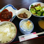 あきもと食堂 - Fランチ サバの味噌煮とチンゲン菜炒め ¥770