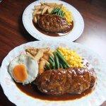 カフェ&レストラン メリーポピンズ - デミグラソース洋風ハンバーグ(下がジャンボサイズ)