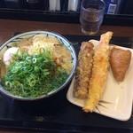 丸亀製麺 - かけ大、温泉玉子、ちくわ天、ジャンボかにかま天、いなり