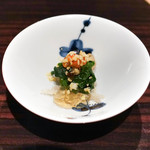 焼肉 銀座コバウ - センマイ、菜の花イクラ土佐酢のジュレ