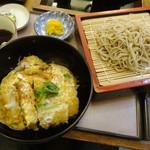 そば処 あいづや - 料理写真:かつ丼セットはトレーからはみ出す!