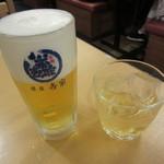 83179373 - 生ビール(中)650円 & 濃醇梅酒ロック 450円