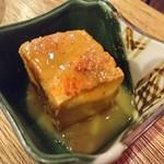 83190969 - ちょい飲みセットの小鉢 揚げ出し豆腐にどて焼きの味噌