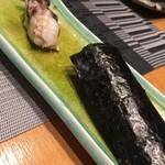 築地青空三代目 - お好み1貫のホッキ貝と塩カッパ巻き