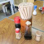 ふくみや食堂 - 卓上の調味料。
