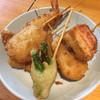 Yoneya - 料理写真:串かつ5本盛合せ¥720と、厚切りベーコン¥160