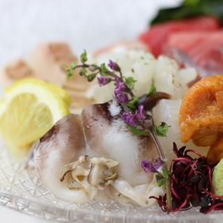 市場から毎朝仕入れ!季節の旬魚は絶品のお造りで楽しんで◎