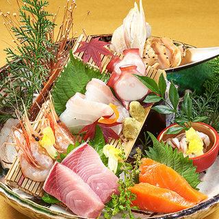 『産地直送鮮魚』『厳選日本酒』