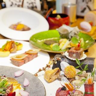 和・洋を取り入れた割烹スタイルで少量多皿色々な料理を少しずつ