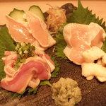 小料理 天城 - 静岡県産天城軍鶏のお刺身です。やみつき確実!食べなきゃ損!!