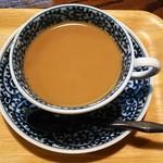 薬膳茶ソイビーンフラワー atきらら - 途中で牛乳を珈琲に入れてカフェオレにしていただきます