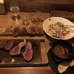 83269590 - 骨付きラムフレンチラック、蝦夷鹿、タンドリーチキンと色彩野菜のサラダボウル、和牛炙り鮨、グラタンスープ