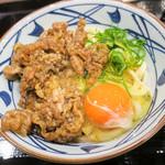 丸亀製麺 - 「牛すき釜玉(並)」(640円)。