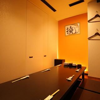 ゆったり落ち着きのある掘りごたつ半個室テーブルソファー半個室