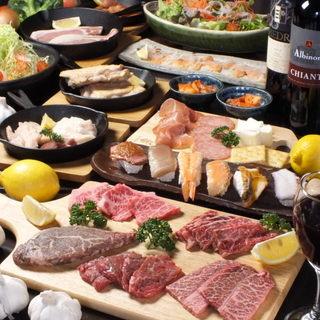 贅沢な特選黒毛和牛を気軽に楽しめる満腹のコース!