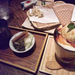 えん - キャラメルバナナパフェ、赤出汁と漬物ww