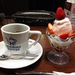 Hoshinokohiten - 苺のショートケーキパフェ+ドリンク