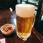 83305521 - 生ビール サッポロクラシック 大ジョッキ&お通し(砂肝とこんにゃくの煮物)