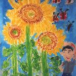 屋台屋 博多劇場 - 長男坊の小学校一年次の作品『ひまわりとせいくらべ』これは、1999年に「花の児童画コンクール」全国優秀賞を戴いた作品である。