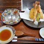 そば処 みやこ - さば寿司天ぷらセット(2180円)