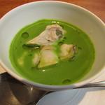 ラ・ターチ - 菜の花とハマグリのロワイヤル仕立てのスープの下にハマグリの出汁で作った茶碗蒸し