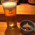 鮨健 - 生ビール。