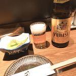 焼鳥 ごん - 瓶ビール&お通し