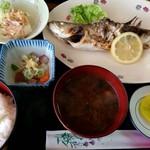 呑み喰い処 奥飛騨 - セイゴ塩焼き定食(680円)