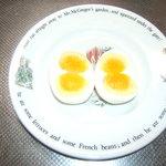 秀じい農場食事処 - 双子卵。雪だるまみたいと、お弁当で人気です。