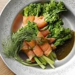 季節野菜とサーモンのポーピエット