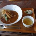 水辺のカフェ 三宅商店 酒津 - 三宅カレーセット(1200円)2018年3月