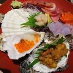 北海道海鮮にほんいち - 漁師町の刺身板盛り(500円)会員用、うにはクーポン